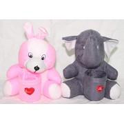 Kabir kirtika Toys' Pink Rabbit and Grey Elephant Pen Stand Holder Adorable Teddy Gift for Kids Birthday.