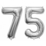 De-Ultimate Solid Silver Color 2 Digit Number (75) 3d Foil Balloon for Birthday Celebration Anniversary Parties