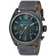 Invicta Watches Invicta Men's 'Aviator' Quartz Stainless Steel and Leather Casual Watch ColorGrey (Model 22987) BlackGrey