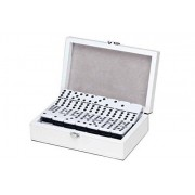 Set Of Double 9 Jumbo Dominoes Game In Leatherette Case, Black/White