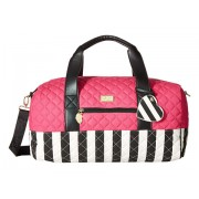 Luv Betsey by Betsey Johnson Cary Canvas Gym Size Weekender WhiteFuchsia