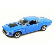 Aztec Imports 1970 Ford Mustang Boss 429, Blue - Motor Max 73154TC - 1/18 Scale Diecast Model Toy Car