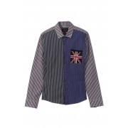 Spy Henry Lau British Flag Casual Long Sleeved Shirt SP5545MSHSTP