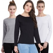 Cliths Cotton Full Sleeves T-Shirt For Women/ White Black And Light Grey Casual T-Shirts For Women Full Sleeve- Pack Of 3