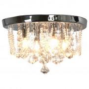 vidaXL ezüstszínű kerek mennyezeti lámpa kristálygyöngyökkel 4 x G9