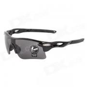 OULAIOU Sports UV400 Proteccion PC Lente gafas de sol marco de plastico - Gris + Negro