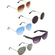 Zyaden Aviator, Aviator, Aviator, Wayfarer, Round Sunglasses(Brown, Blue, Green, Blue, Black)