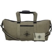 NEUDIS Genuine Leather & Recycled Stone Washed Canvas Duffle Bag for Gym & Travel - Compass Travel Duffel Bag(Green)