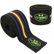 C.P. Sports Knee Wraps 2.5m, Black/Blue/Red/Yellow