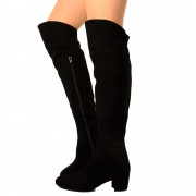 Stivali Donna Overknee in Camoscio Nera Made in Italy T: 36, 37, 38