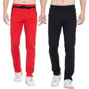 Cliths Cotton Track Pants for Men / Track Joggers For Men- Pack of 2 (Black Red)