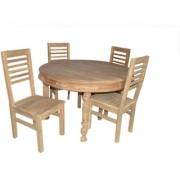 teak wood round 4 seater dining table set
