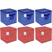 Billion Designer Laheriya Design Non Woven 6 Pieces Small Foldable Storage Organiser Cubes/Boxes (Blue & Orange) - BILLION36086 BILLION036086(Blue & Orange)