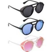 NuVew Round, Shield Sunglasses(Black, Blue, Pink, Grey)