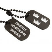Dogtags Private Steel Black Tre Kronor – utan gravyr