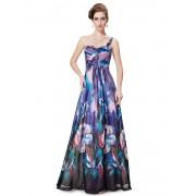 Modrofialové květované šaty na jedno rameno