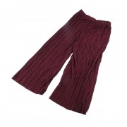 Mujer plisada Color puro pantalones pata ancha cintura elástica Casual pantalón largo Café
