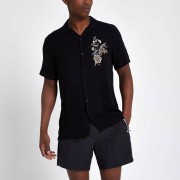 River Island Mens Black floral embroidered casual shirt (Size XS)
