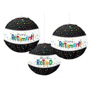 """Amscan Fun Filled Retirement Party """"Happy Retirement"""" Round Printed Lanterns Decoration, Multi Color, 12 X 11"""""""