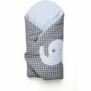 Paturica de infasat multifunctionala cu broderie Elefant Womar Zaffiro, 70 x 70 cm, Gri/Albastru