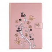Shop4 - iPad 9.7 (2018) Hoes - Book Cover Kleurrijk Vlinder Patroon Rosé Goud