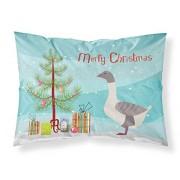 """Caroline's Treasures """"Common Ostrich Christmas Funda de Almohada para decoración navideña, Multicolor, Gansos Ganso de Lomo Gris Claro, Multicolor, Estándar, 1"""