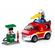 Sluban Small Fire Truck + Oil Station Building Block Crontsruction Toys For Kids