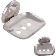 SHRUTI (Saloni) Heavy Duty Premium Single Rectangle Soap dish / Soap Case / Soap Holder / Soap tray / Soap Rack for Multi Bathroom Accessories(4.5 cm x 3.5 cm x 3 cm Metallic)-1682
