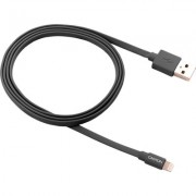 CANYON Charge & Sync MFI flat cable, USB to lightning, certified by Apple, 1m, 0.28mm, Dark gray