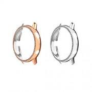 MoKo Juego de 2 fundas protectoras compatibles con Samsung Galaxy Watch Active 2, 40 mm, placa de diamante de vidrio rígida para parachoques, marco protector