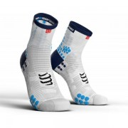 Compressport Racing Socks V3.0 High - Unisex - Wit / Blauw - Grootte: 45-48