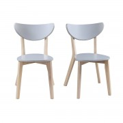 Miliboo Design-Stühle Grau Beine aus Holz LEENA (2er-Set)