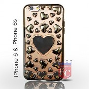 KC Unique 3D Hearts for lover Cute Heart Design Transparent Soft Back Cover for iPhone 6 & iPhone 6s - Gold