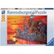 Пъзел Ravensburger 500 елемента, Животни в саваната на залез, Ravensburger, 701084