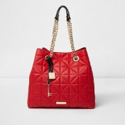 River Island Womens Red quilted slouch chain bag