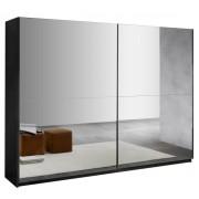 IB Living Kledingkast Kenzo 180 cm breed - compleet spiegel met hoogglans Zwart