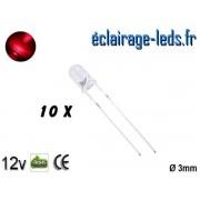 Lot de 10 LEDs rouges 1000 mcd 670 nm 30° ref ld-12