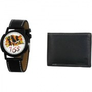 Crude Analog Watch-rg668 With Black Leather Wallet