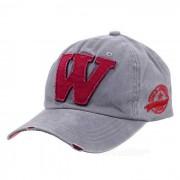 Sombrero unisex de moda del vintage de la gorra de beisbol de W - gris + rojo