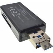 Cititor carduri CR3in1 OTG cu USB 3.1 tip C si USB 2.0 cu microUSB