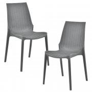 [casa.pro]® Sada záhradných stoličiek HTRS-8555 - 2 ks - 89 x 44 x 55,5 cm - tmavo sivé