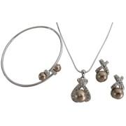 Latte Jewelry Wedding Gift Pearl Pendant Necklace Earring Cuff Bracelet