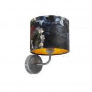 QAZQA Vintage wandlamp antiek grijs met kap velours 18/18/14 bloemen - goud