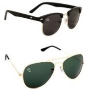 Aventus Aviator, Oval Sunglasses(Black, Green)