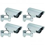 Merkloos 4x Dummy nep beveiligingscamera met ledlampje 17 cm beveiligingsmateriaal - Dummy beveiligingscamera