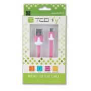 Cavo Flat USB AM a Micro USB M Rosa 1m