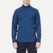 Michael Kors Men's Slim Fit Spread Collar Stretch Nylon Poplin Shirt - Admiral Blue - M - Blue