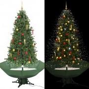 vidaXL Коледна елха с валящ сняг и основа от чадър, зелена, 190 см