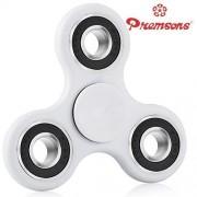 Premsons Fidget Spinner 608 Four Bearing Ultra Speed Tri-Spinner Hand Spin Toy - White + Black Wing Bearings