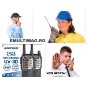 Set 2 buc statii Radio Walkie Talkie Baofeng Raldio UV-8D UHF 400 - 520MHz 16CH PROGRAMABILE 8W, radio UHF 65 - 108 MHz